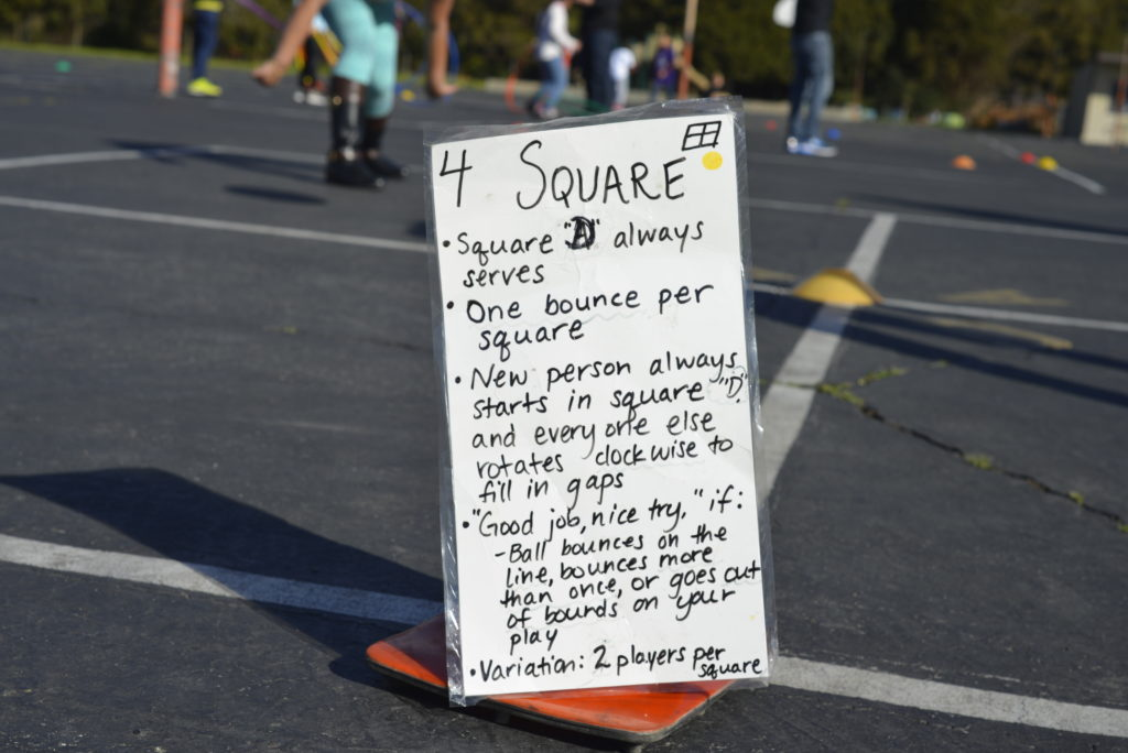 Poster attached to cone showing foursquare rules